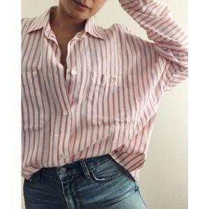 Vintage Cotton Pink/White Button Down